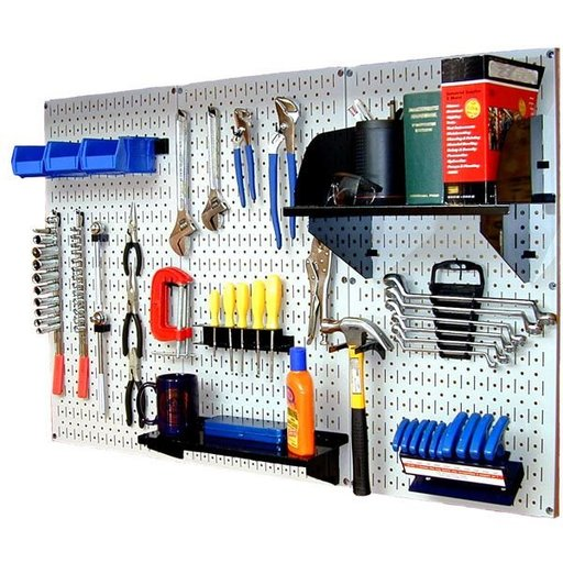 View a Larger Image of Wall Control Steel Pegboard, Standard Workbench Kit in White with Black Accessories