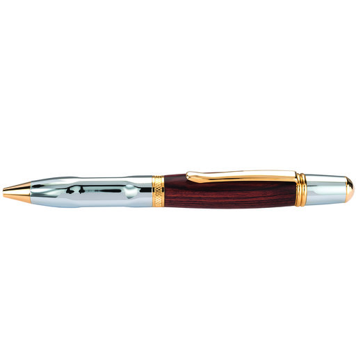 View a Larger Image of Wall Street II Grip Ballpoint Pen Kit Chrome & Woodcraft Gold