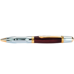 Wall Street II Grip Ballpoint Pen Kit Chrome & Woodcraft Gold