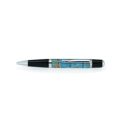 View a Larger Image of Wall Street III Blue Circuit Board Ballpoint Pen Kit - Chrome