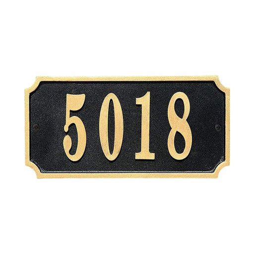 View a Larger Image of Waterford Rectangle Cast Aluminum Black with Gold Border Address Plaque