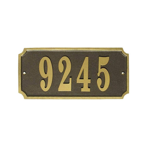 View a Larger Image of Waterford Rectangle Cast Aluminum Bronze with Gold Border Address Plaque