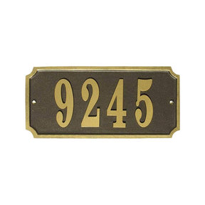 Waterford Rectangle Cast Aluminum Bronze with Gold Border Address Plaque