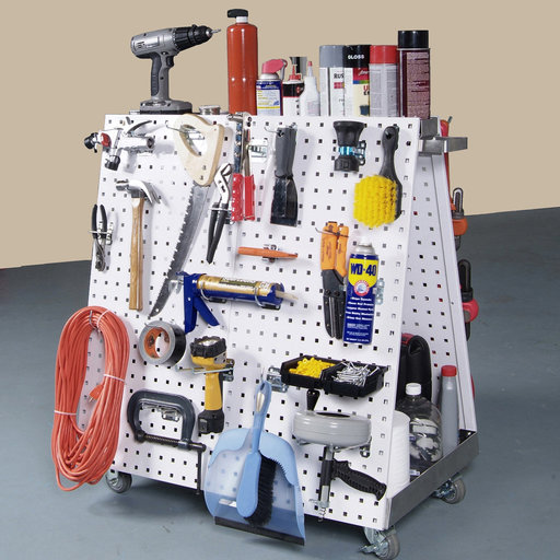 View a Larger Image of White Anodized Aluminum Frame Tool Cart with Tray