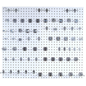 White Epoxy 18 Gauge Steel Square Hole Pegboards w/63 pc. LocHook Assortment