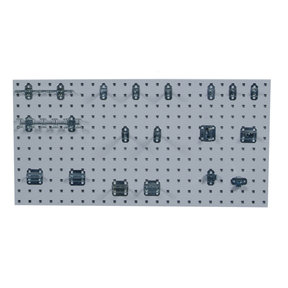 White Epoxy, 18 Gauge Steel Square Hole Pegboards with 18 pc LocHook Assortment