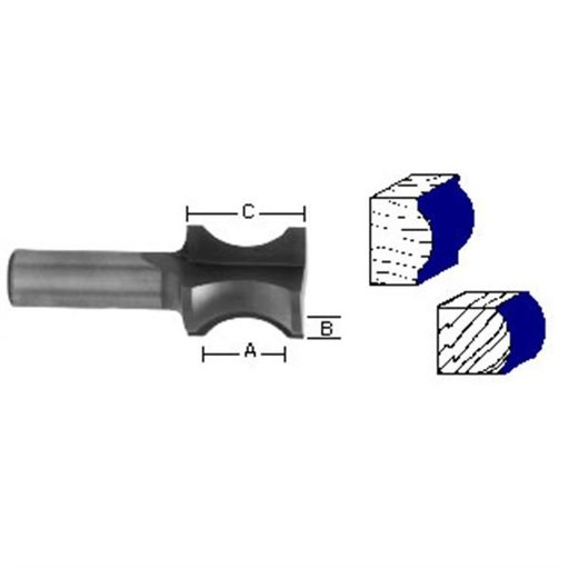 "View a Larger Image of 1476 Oval Edge (Half Bull Nose) Router Bit 3/4"" A X 3/16"" B X 1-1/4"" CL 1"" D"
