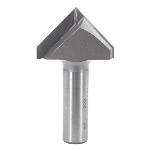 """View a Larger Image of 1508 V Groove Router Bit 1/2"""" SH 1-1/2"""" D X 3/4"""" P X 2-3/4"""" OL"""