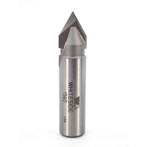 "View a Larger Image of 1560 V Groove Router Bit 60 Included Angle 1/2"" SH 1/2"" D X 7/16"" P X 2-1/4"" OL"