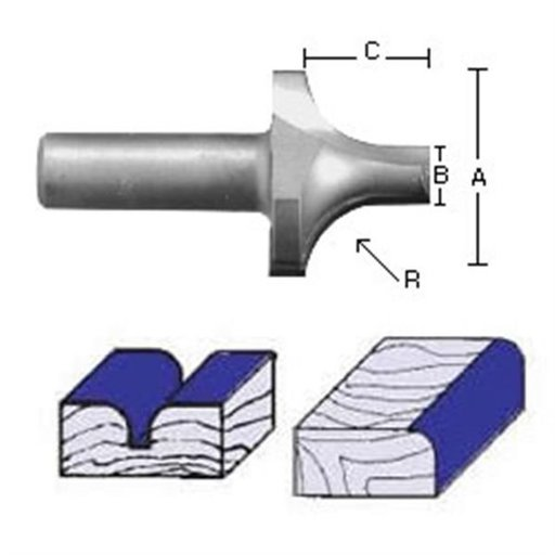 "View a Larger Image of 2057 Plunge Roundover Router Bit 1/2"" SH X 3/8"" R X 1"" A X 1/4"" B 5/16"" C 2-1/8"" OL"