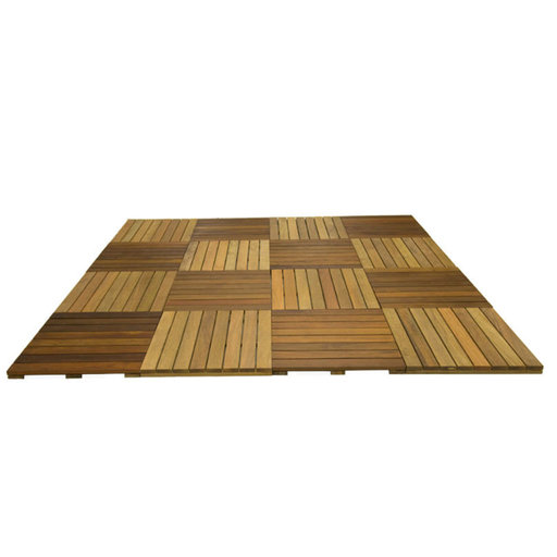 View a Larger Image of WiseTile Hardwood Deck Tile Starter Kit, Exotic Ipe Hardwood, 8 ft. x 8 ft. x 64 Sq. ft., 16 Count