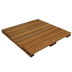 WiseTile Solid Hardwood Deck Tile, Exotic Ipe, Smooth, 1 Tile, 24 in. x 24 in.