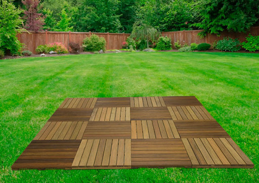 View a Larger Image of WiseTile Solid Hardwood Deck Tile, Exotic Ipe, Smooth, 1 Tile, 24 in. x 24 in.