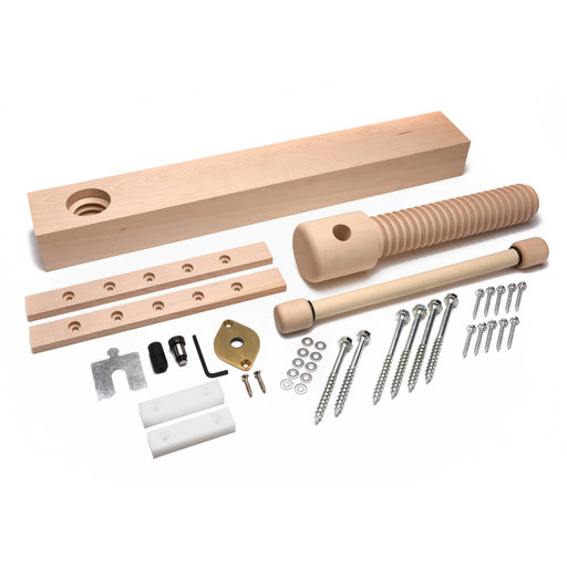 View a Larger Image of Wood Wagon Vise Screw - Premium Kit (Brushed Finish)