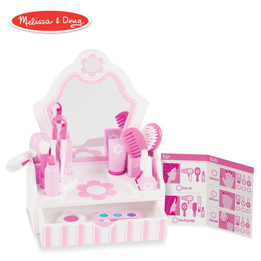 "View a Larger Image of Wooden Beauty Salon Play Set, Role Play, Vanity & Accessories, 18 Pieces, 15.5"" H x 12"" W x 6"" L"