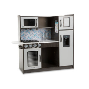 "Wooden Chef's Pretend Play Toy Kitchen With ""Ice"" Cube Dispenser, Easy to Assemble, Charcoal, 39"" H x 15.5"" W x 43.25"" L"