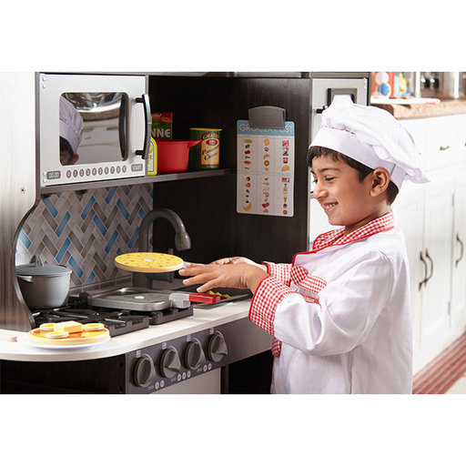 """View a Larger Image of Wooden Chef's Pretend Play Toy Kitchen With """"Ice"""" Cube Dispenser, Easy to Assemble, Charcoal, 39"""" H x 15.5"""" W x 43.25"""" L"""