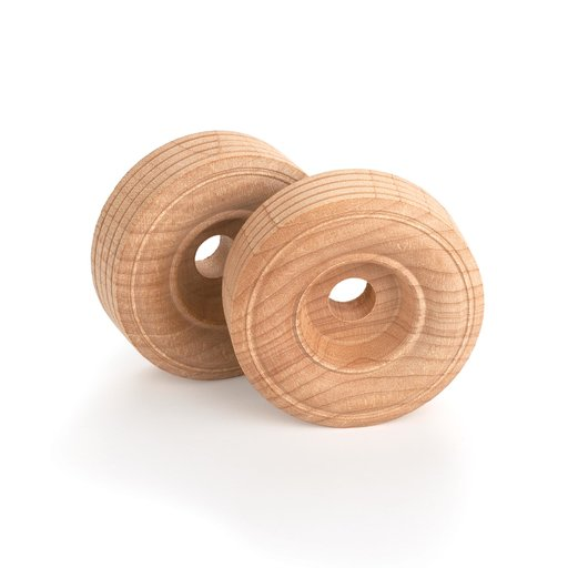 "View a Larger Image of Wooden Single Truck Wheels, 2"" Dia., 3/4"" W, 3/8"" Axle Hole 2-piece"