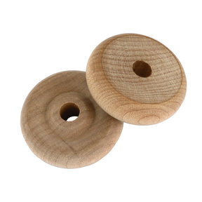 "Wooden Toy Wheels, 1-1/4"" Dia., 7/16"" W, 1/4"" Axle Hole 4-piece"