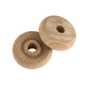 "Wooden Toy Wheels, 1"" Dia., 3/8"" W, 1/4"" Axle Hole 6-piece"