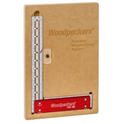 "View a Larger Image of Woodpeckers OneTIME 1281SS Stainless Steel Square – 12"" with MDF Storage"