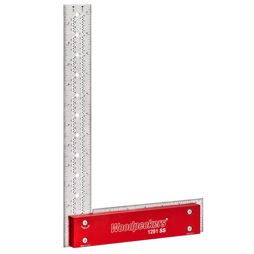 View a Larger Image of Woodpeckers OneTIME 641SS and 1281SS Stainless Steel Square – Metric with MDF Storage