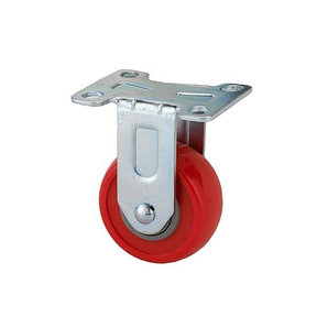 "2-1/2"" Caster, Fixed Plate with 4-hole Mounting, 3-3/8"" Tall"