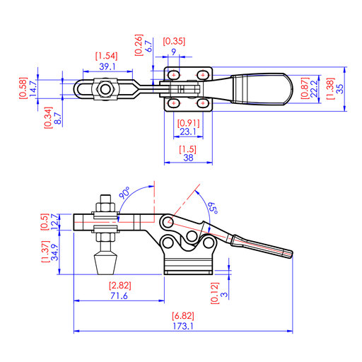 """View a Larger Image of Low Silhouette Toggle Clamp, 2-3/4"""" x 1/4"""", 500 lb. Capacity"""