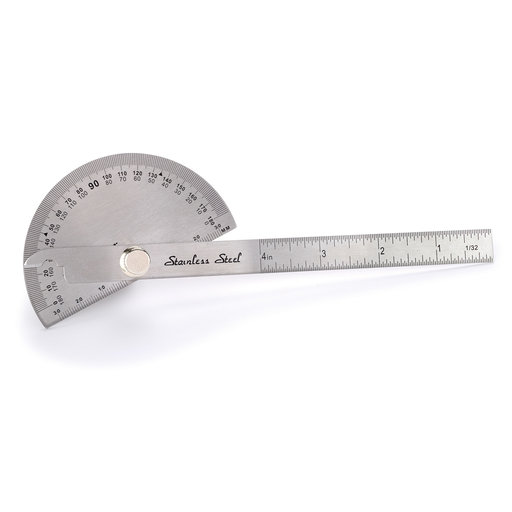 "View a Larger Image of WoodRiver Stainless Steel 6"" Round Head Protractor"