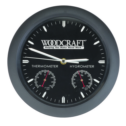 View a Larger Image of Woodshop Clock With Thermometer And Hygrometer