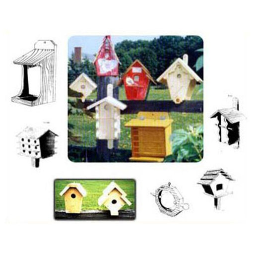 View a Larger Image of Woodworking Project Paper Plan to Build 27 Birdhouses and Feeders