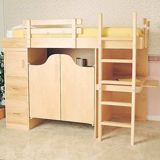 View a Larger Image of Woodworking Project Paper Plan to Build 3-In-1 Bunk Bed, Plan No. 844