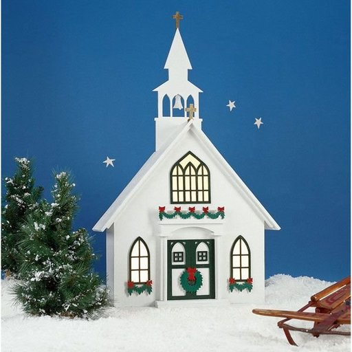 View a Larger Image of Woodworking Project Paper Plan to Build Americana Village Holiday Church