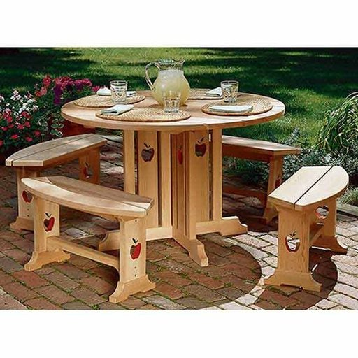 View a Larger Image of Woodworking Project Paper Plan to Build Apple Patio Table & Benches