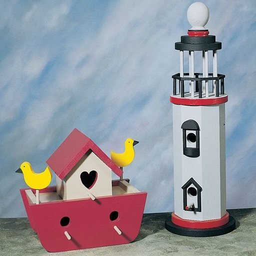View a Larger Image of Woodworking Project Paper Plan to Build Ark & Lighthouse Birdhouses