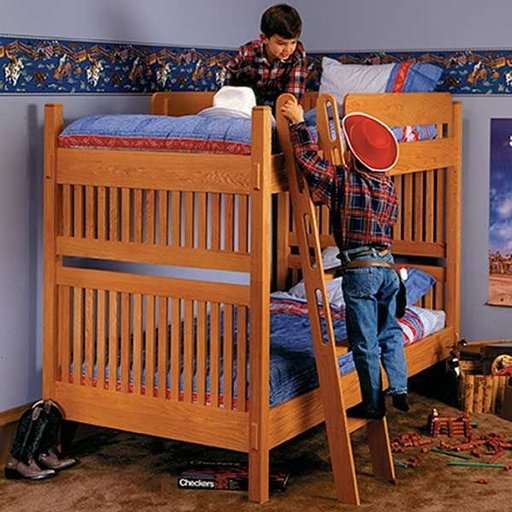 View a Larger Image of Woodworking Project Paper Plan to Build Arts and Crafts Bunk Bed