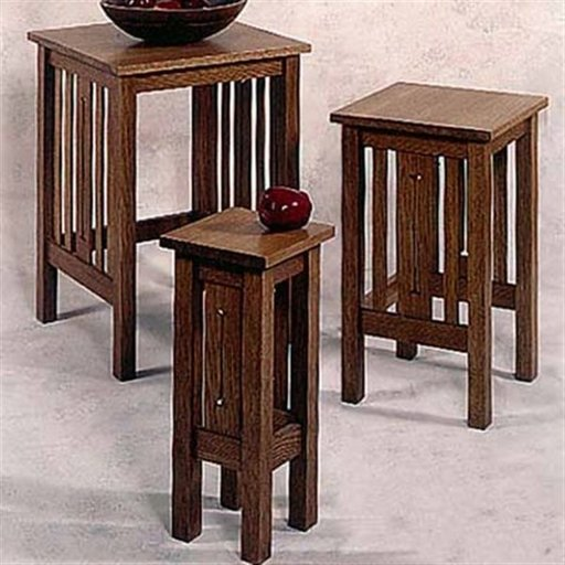 View a Larger Image of Woodworking Project Paper Plan to Build Arts and Crafts Nesting Tables