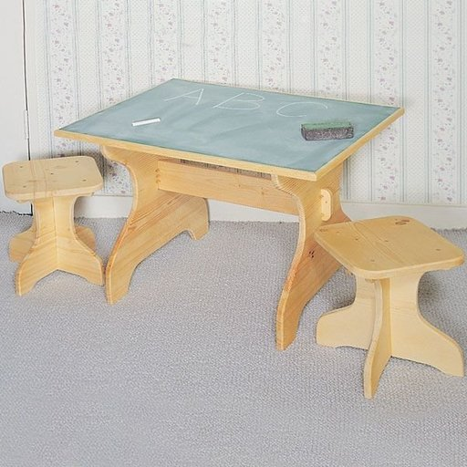 View a Larger Image of Woodworking Project Paper Plan to Build Chalktable & Stools, Plan No. 846