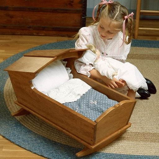 View a Larger Image of Woodworking Project Paper Plan to Build Cherry Doll's Cradle