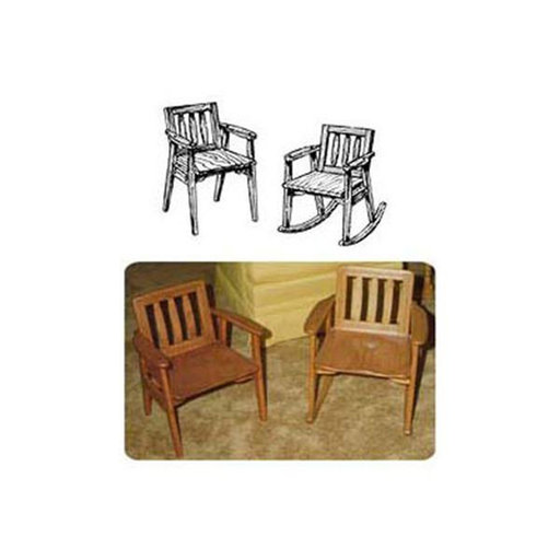 View a Larger Image of Woodworking Project Paper Plan to Build Child's Rocker with Arm Chair