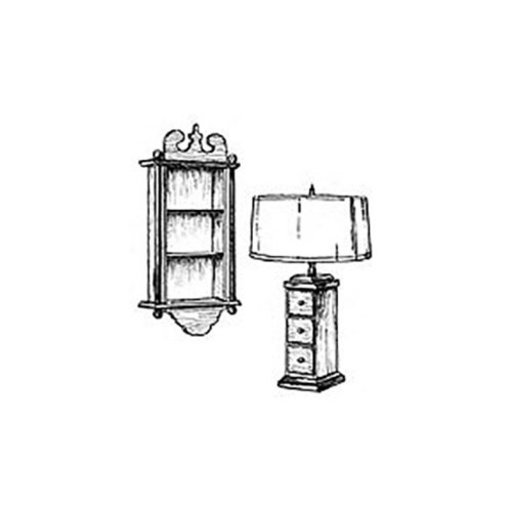 View a Larger Image of Woodworking Project Paper Plan to Build Clock Case Shelf and Curio Lamp