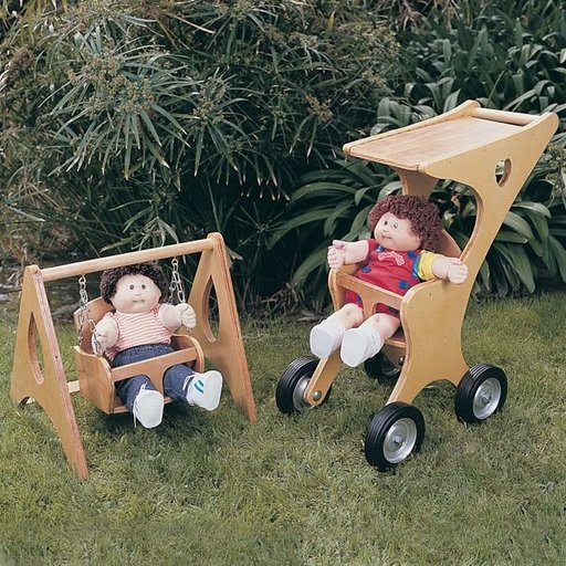 View a Larger Image of Woodworking Project Paper Plan to Build Doll Stroller & Swing, Plan No. 784