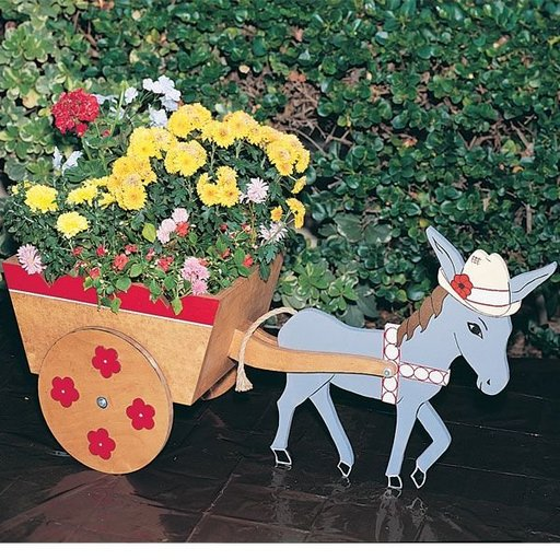 View a Larger Image of Woodworking Project Paper Plan to Build Donkey Cart Planter, Plan No. 748