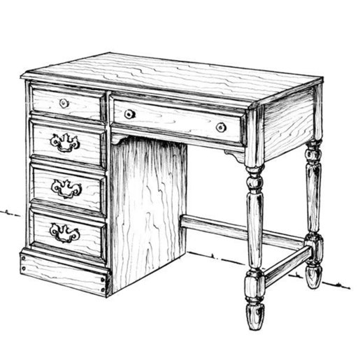 View a Larger Image of Woodworking Project Paper Plan to Build Dresser Desk