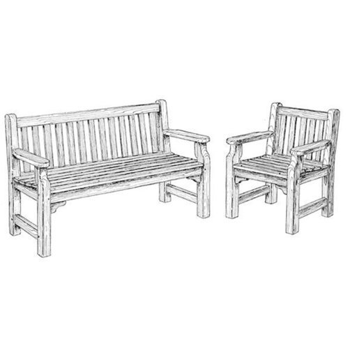 View a Larger Image of Woodworking Project Paper Plan to Build English Garden Bench and Chair