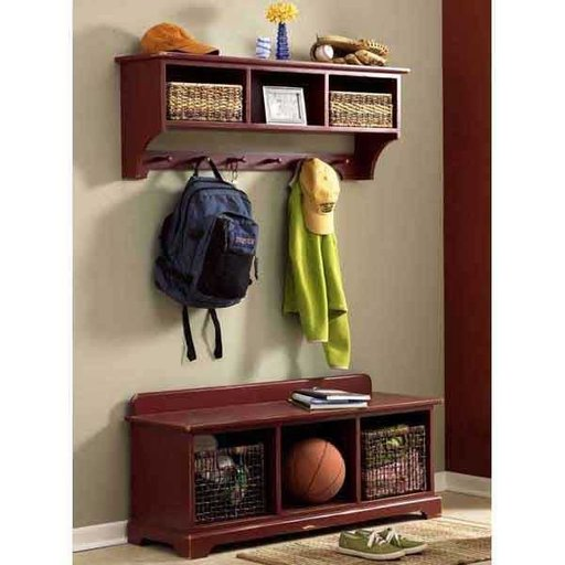 View a Larger Image of Woodworking Project Paper Plan to Build Entry-Area Storage Bench & Wall Shelf
