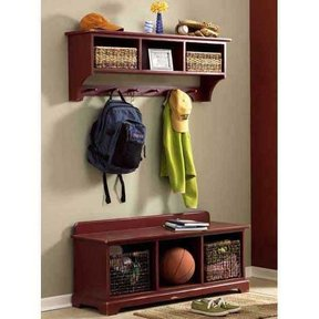 Woodworking Project Paper Plan to Build Entry-Area Storage Bench & Wall Shelf