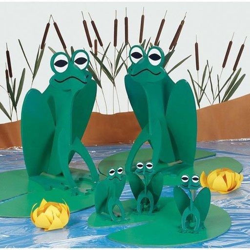 View a Larger Image of Woodworking Project Paper Plan to Build Family of Friendly Frogs
