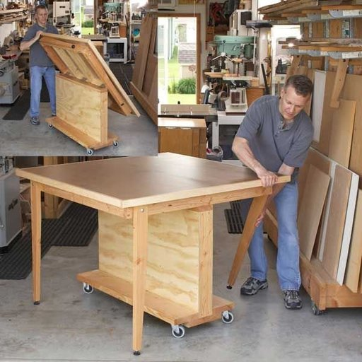 View a Larger Image of Woodworking Project Paper Plan to Build Fold-Flat 3-in-1 Workbench