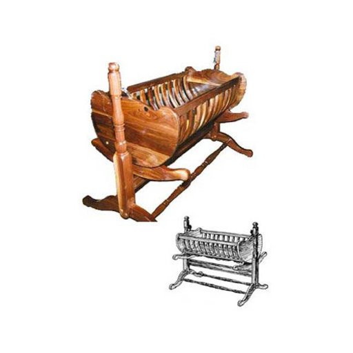 View a Larger Image of Woodworking Project Paper Plan to Build French Colonial Baby Cradle